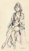 Peter Collins ARCA - Signed c.1970s India Ink, Seated Nude with Head Scarf