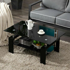 Modern Rectangle Cocktail Coffee Table Glass & Wood Living Room With Lower Shelf