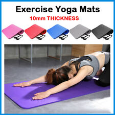 YOGA MAT FOR PILATES GYM EXERCISE 10MM THICK LARGE COMFORTABLE + CARRY STRAP
