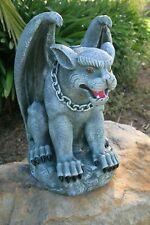 Gargoyle on Pedestal Statue Figurine Garden Decor Ornament Grey