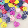 50/100/500pcs Mix Lots Heart Wood Buttons 15mm Sewing Craft 2 Holes WB94
