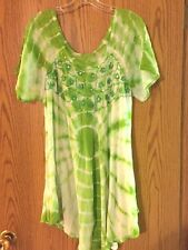 Lovely Gauze Tie Dyed Embroidered/Sequins Top Lime Green/White OS XL/1X NWT