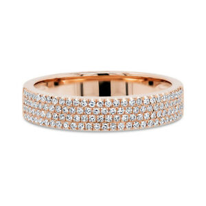 Diamante Largo Anello 14K Oro Rosa Rotondo Naturale Taglio Ricoperto 0.28ct Fede