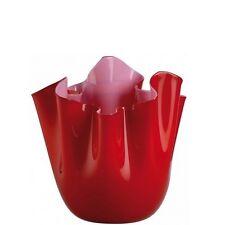 Fazzoletto Opalino, Vaso 13,5 cm Rosso interno Rosa, Cristallo-Vetro, Venini