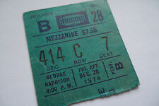 GEORGE HARRISON Original__1974__CONCERT TICKET STUB__Madison Square Garden, NYC