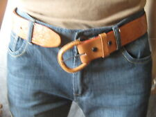 Vtg 70s Mens Thick Tooled Western Leather Belt Mexico Dude Ranch 33