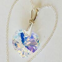 925 Sterling Silver Swarovski Elements Heart Crystal Necklace AB Pendant Gift