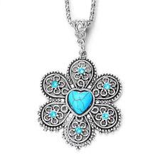 Fashion Women Retro Bohemia Turquoise Stone Flower Necklace & Pendant Chain Hot