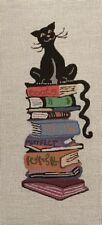 "NEEDLEPOINT GORGEOUS ""BOOK CAT"" 14 CT MONO CANVAS!!!"