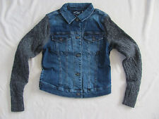 Silver Jeans Denim Jacket with Knit/Sweater Sleeves-Blue/Gray-Size XS -NWT $89