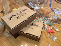10 x Personalised Vintage / Rustic Sweet / Candy / Wedding Cake Gift Boxes