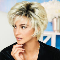 Lady Short Straight Wig Pixie Ombre Blonde Natural Synthetic Hair Cosplay Party