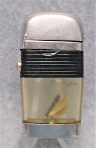 Vintage Scripto Vu Black Band Fish Hook  advertising lighter NICE