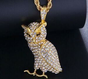 3.50ct Natural Round Diamond 14K Solid Yellow Gold Onyx Gemstone Bird Pendant
