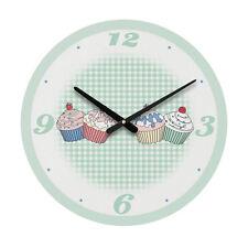 Round Green/White Cupcake Analogue Wall Clock MDF Home Decor New
