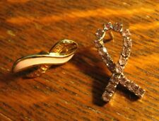 Pink Ribbon Lapel Pins - Gold Avon Enamel Silver Rhinestone Awareness Pin Set