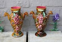 PAIR Antique art nouveau barbotine majolica Sea horse head floral vases