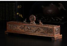 """10.24"""" Tibetan Buddhism Copper Hand engraving Pair Deer Falun Incense Burner"""