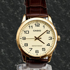 Casio MTPV001GL-9B Men's Analog Watch Leather Band Gold Face Gold New