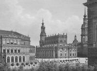 GERMANY Dresden Theatre & Hofkirche Church - 1860 SCARCE Engraving Print