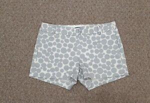 J Crew Women's Size 0 Grey Circles Side Zipper Flat Front Stretch Shorts