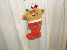 Vintage 2 Teddy Bear in Stocking Candy Cane Christmas tree Ornament Flocked