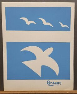 """Georges Braque Vintage Serigraph Plate Signed 1970's 16""""×13"""" Peace Dove"""