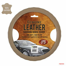 New Premium Genuine Leather Car Truck Beige Steering Wheel Cover - Large Size