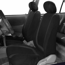 Front Car Seat Covers Black Set for Auto w/Head Rests Two Bucket Seat Covers