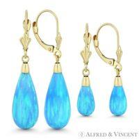 Fiery Azure Blue Lab Opal 14k Yellow Gold Leverback Tear-Drop Dangling Earrings