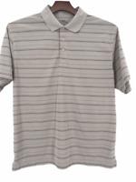 PGA Tour Golf  Mens Gray Black Striped Collared Short Sleeve Polo Shirt  Size XL