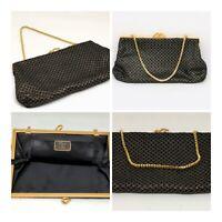 Vintage Alligator Made in England Black & Gold Evening Clutch Bag Purse VGC