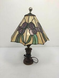Vintage Tiffany Style Stained Faux Glass Brass Base Table Lamp