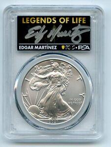 2021 (P) $1 Silver Eagle Emergency T1 PCGS MS70 Legends of Life Edgar Martinez