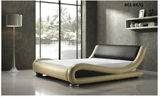 ITALIAN DESIGN QUEEN SIZE Brown PU LEATHER BED FRAME