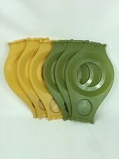 Mid Century Modern Vintage Picnic Plate & Drink Holders Green & Gold Set Of 6