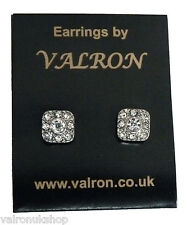 Square Diamante Stud Earring with Round Centre Stone (8mm)