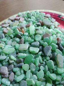 GENUINE BEACH GLASS SEA GLASS NATURALLY SURF Tumbled Green all different 1/2 lb