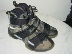 "2009 Nike Lebron Soldier 10 SFG ""Camo"" Black/Bamboo/Medium Olive Shoes Size 10"