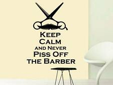 Wall Decal Quote Keep Calm and Never Piss Off the Barber Hair Beauty Salon NV189