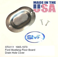 64-73 Mustang Floor Pan Drain Plug Hole Cover w/ Screws EACH  Made In The USA