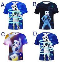 Kids Boys 3D print T shirt Sport Nylon Top Fortnite super soft DJ Marshmello Man