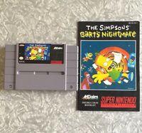 SNES Simpsons Bart's Nightmare Super Nintendo Cartridge w/ Manual Clean & TESTED