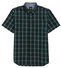 Vans Boys Short Sleeve Button Up Rockwood Plaid Woven Shirt, Size Large