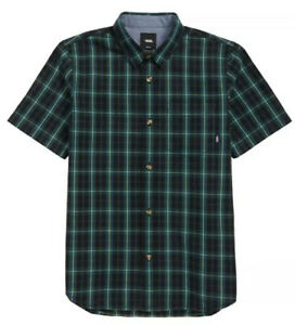 Vans Boys Short Sleeve Button Up Rockwood Plaid Woven Shirt, Size Large NEW $44