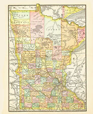 1890 Color Map of MINNESOTA - Each County Individually Colored - Railroads named