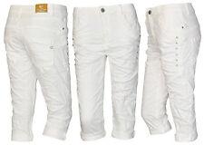 Lexxury Boyfriend Capri 3/4 Hose Bermuda Damenjeans Jeans Haremshose Strass