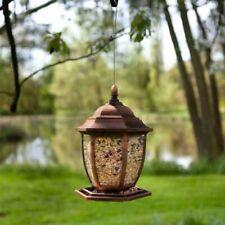 Copper Lantern Seed Bird Feeder Garden Ornament Outdoor Weatherproof Traditional
