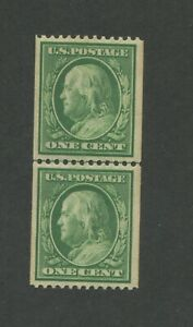 1908 United States Postage Stamp #348 Mint Never Hinged OG Line Pair Certified
