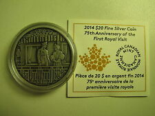 2014 Proof $20 75th Anniversary First Royal Visit-Antique COIN&COA ONLY Canada